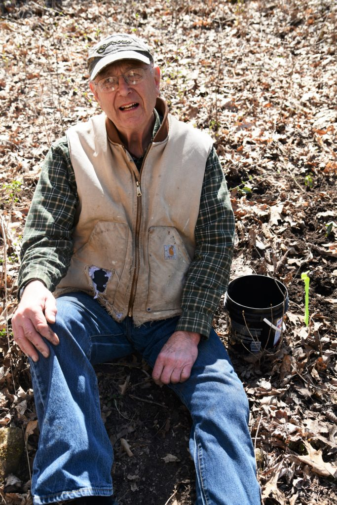 Jerry Goth planting red trilliums
