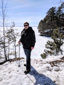 Julie at Houghton Point in winter